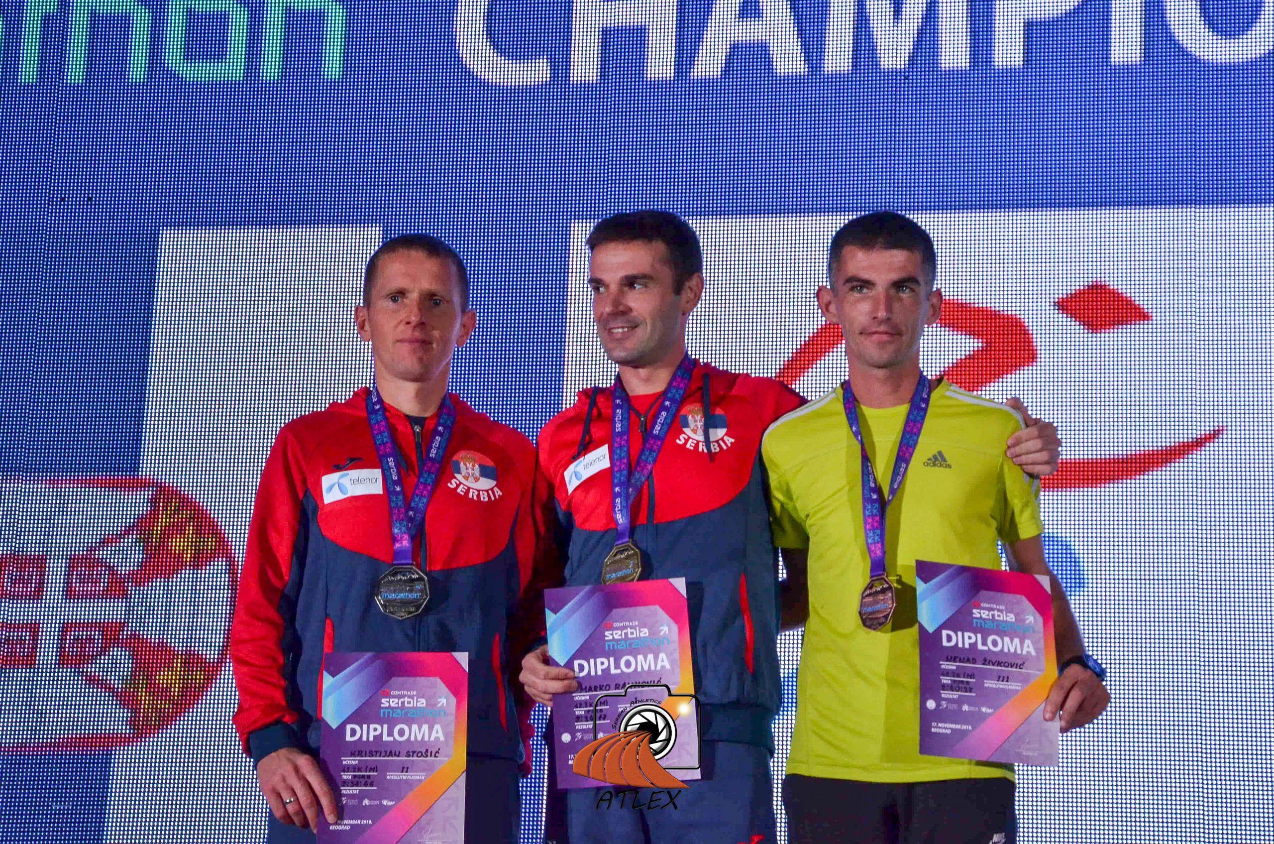 Prvi Comtrade Serbia Marathon, šampioni Srbije u maratonu: Kristijan Stošić, Marko Ranković, Nenad Živković;