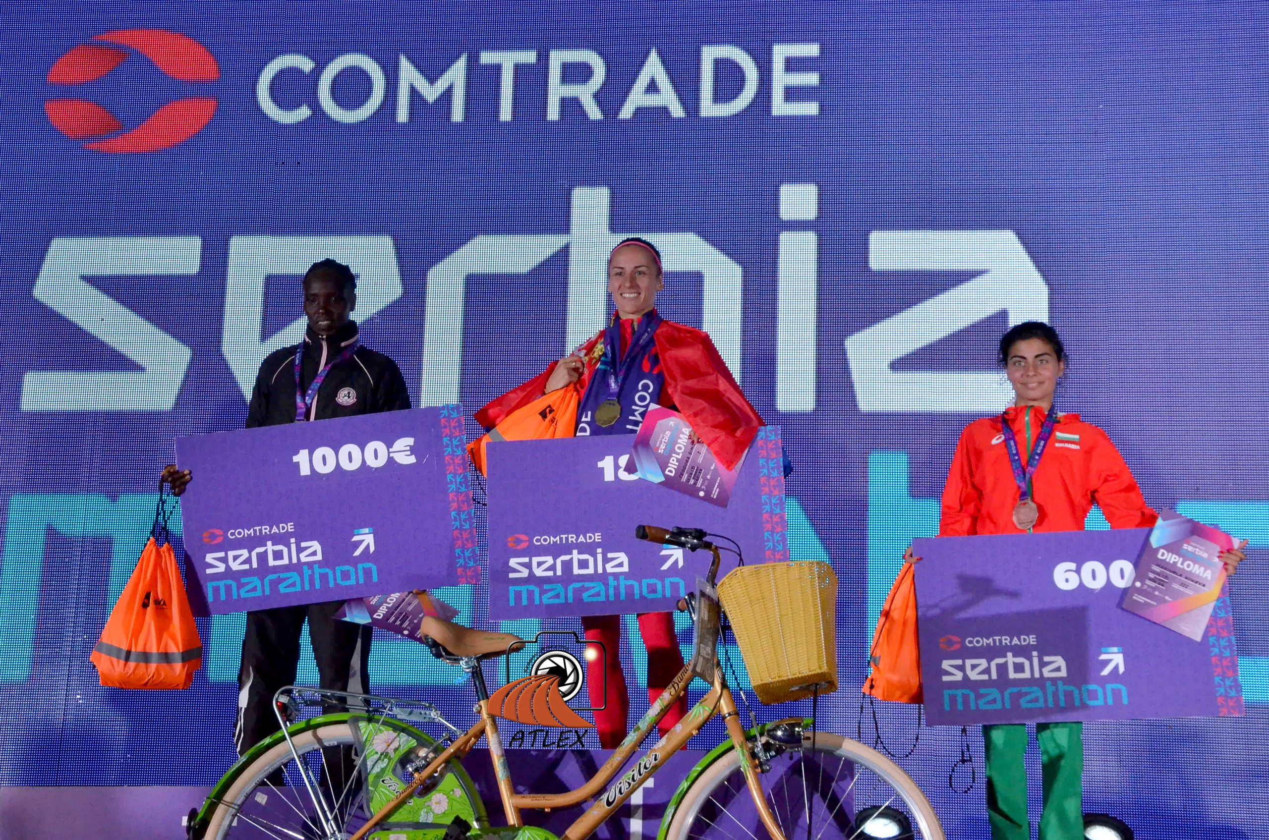 Prvi Comtrade Serbia Marathon, šampionke maratona, Helen Džepkosegej Kimutai, Teodora Simović, Marinela Nineva