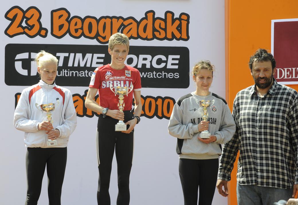 23. Beogradski maraton, žene, Olivera Jevtić, Slađana Perunović i Danijela Barać