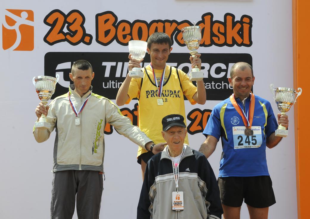 23. Beogradski maraton, muškarci, Saša Stojić, Branko Stević iAleksandar Arsić