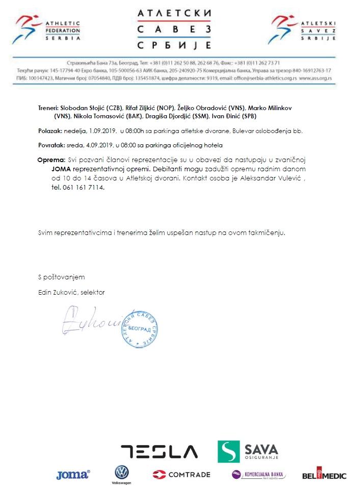 Balkanijada 2019, spisak seniora, poziv