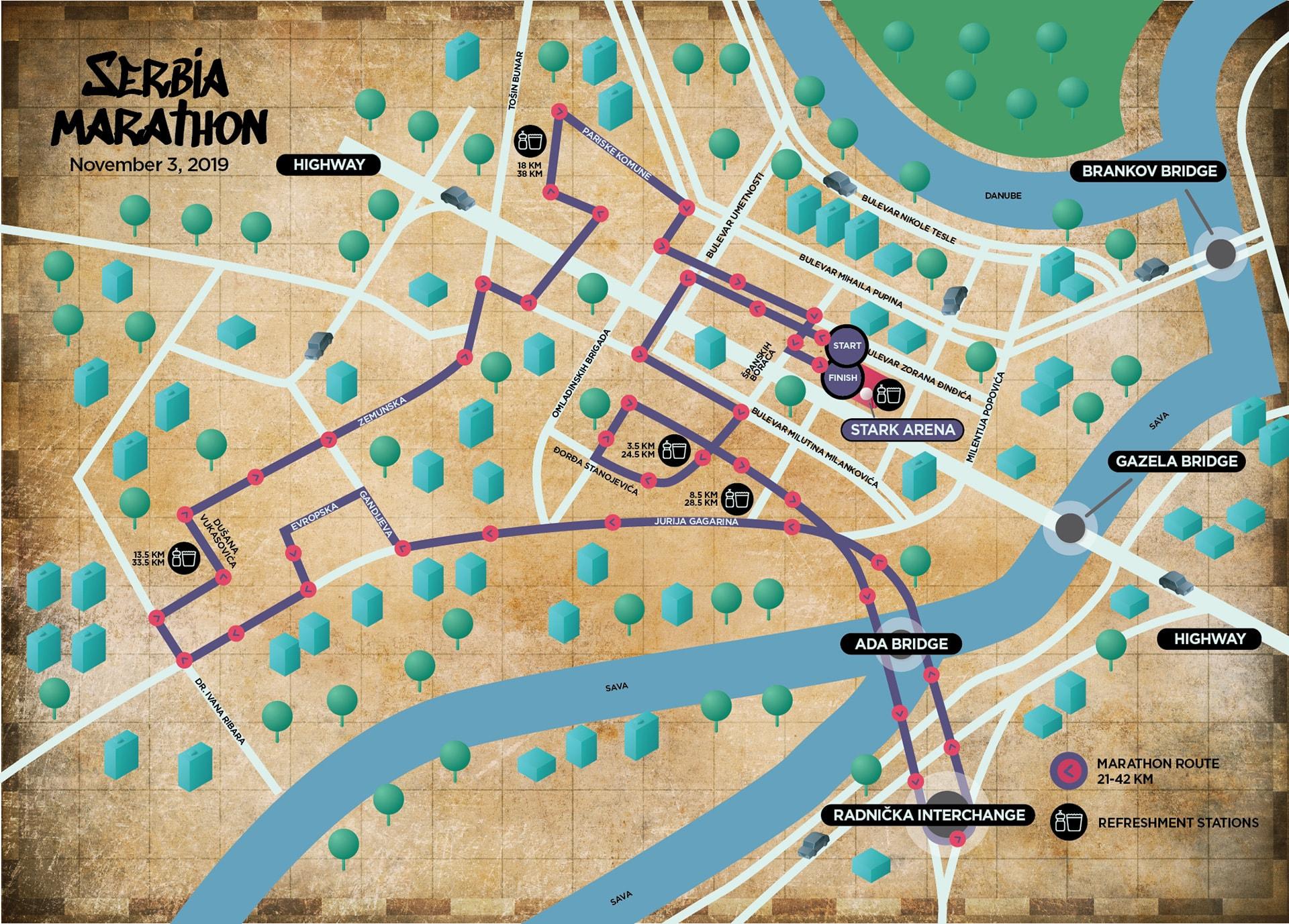 Serbia Marathon mapa