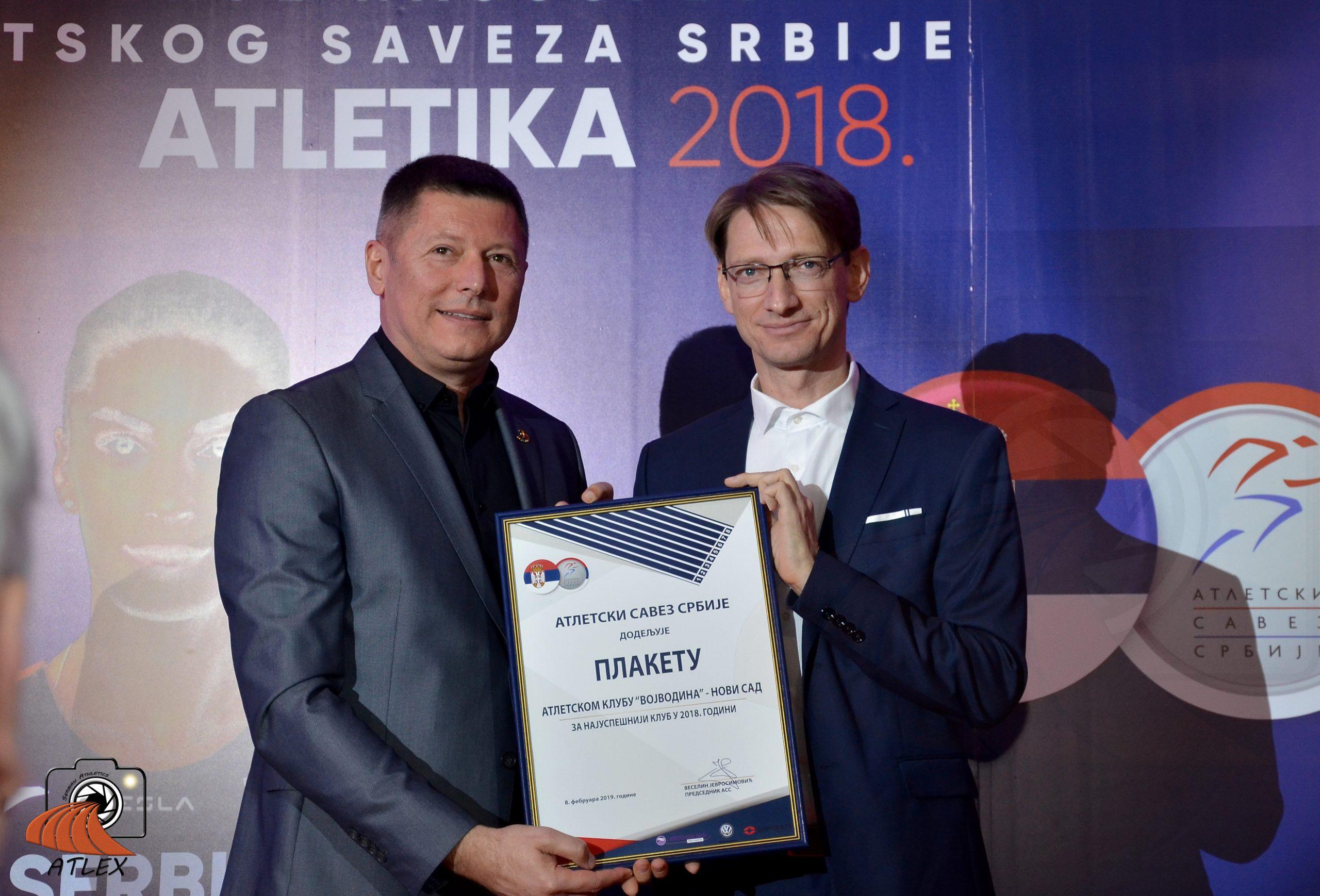 Goran Obradović, Vojvodina Novi Sad najbolji atletski klub u 2018.