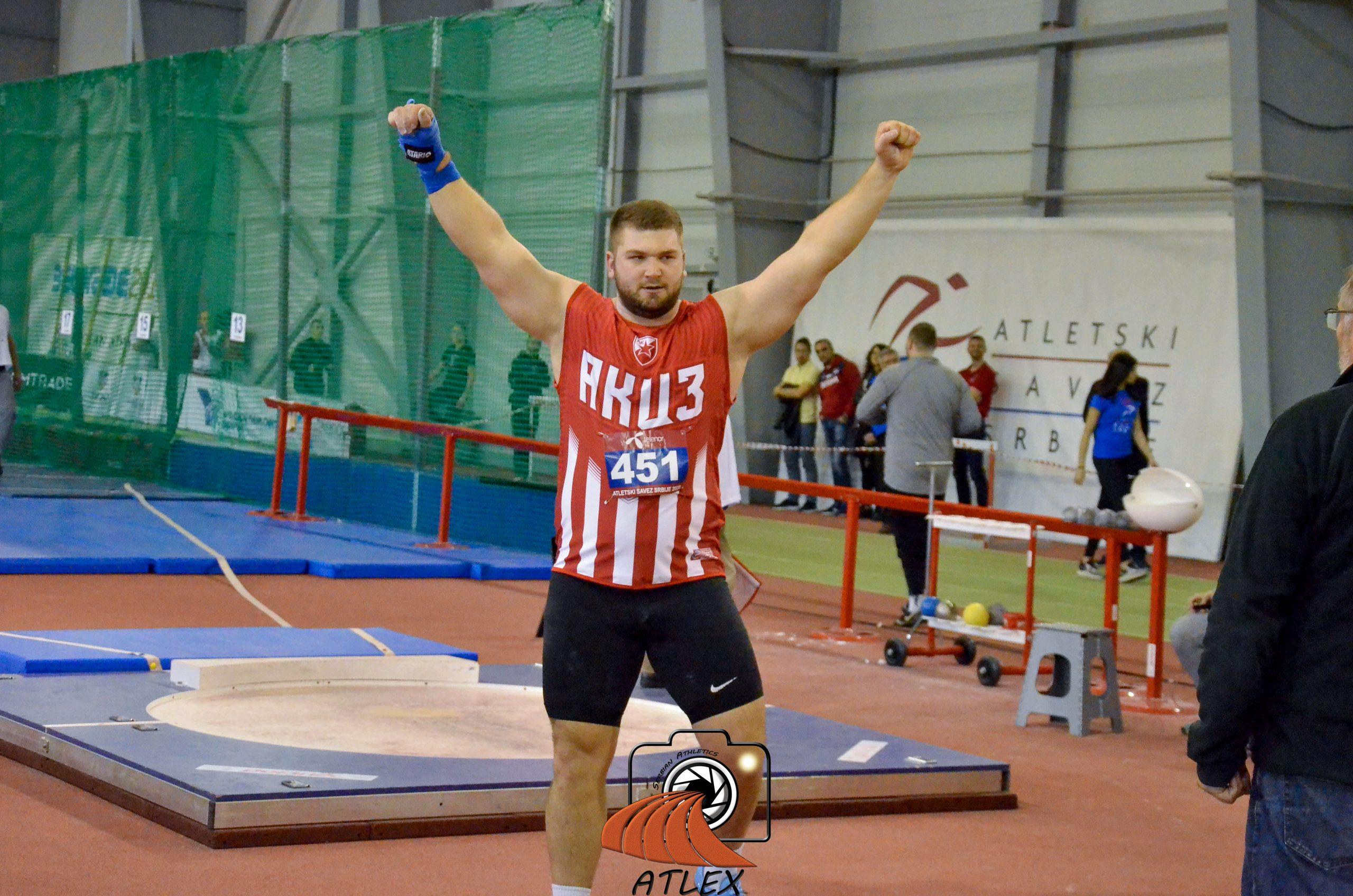 Armin Dinančević, novi rekorder Srbije u bacanju kugle u dvorani
