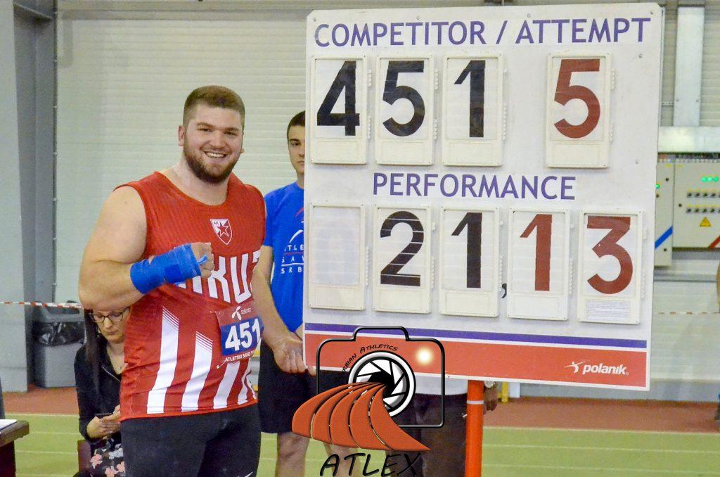 Armin Sinančević, novi rekorder Srbije u bacanju kugle u dvorani