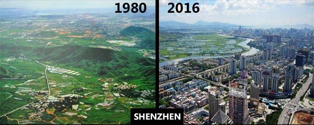 Šenžen 1980. i 2016.