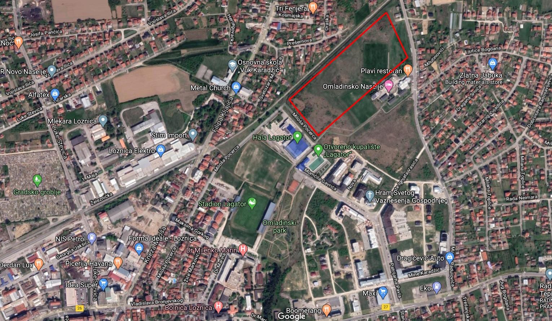 Lokacija budućeg atletskog stadiona u Loznici