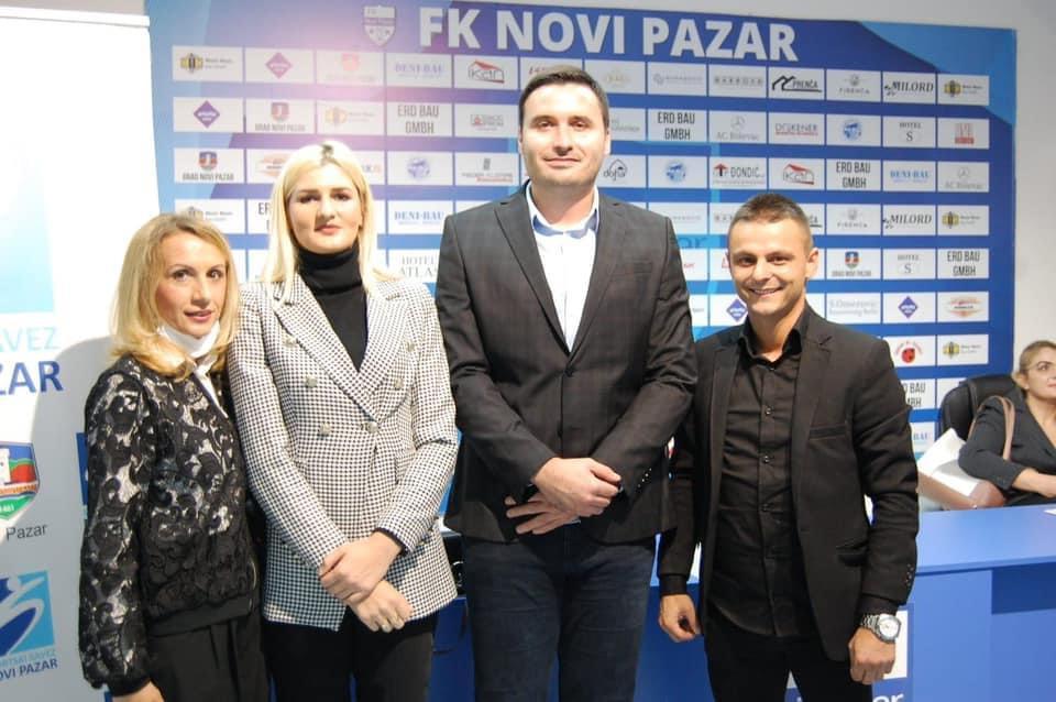 Amela Terzić, nova predsednica Sportskog saveza Novog Pazara sa bivšim predsednikom Mehmedovićem i novim generalnim sekretarom Zećirovićem
