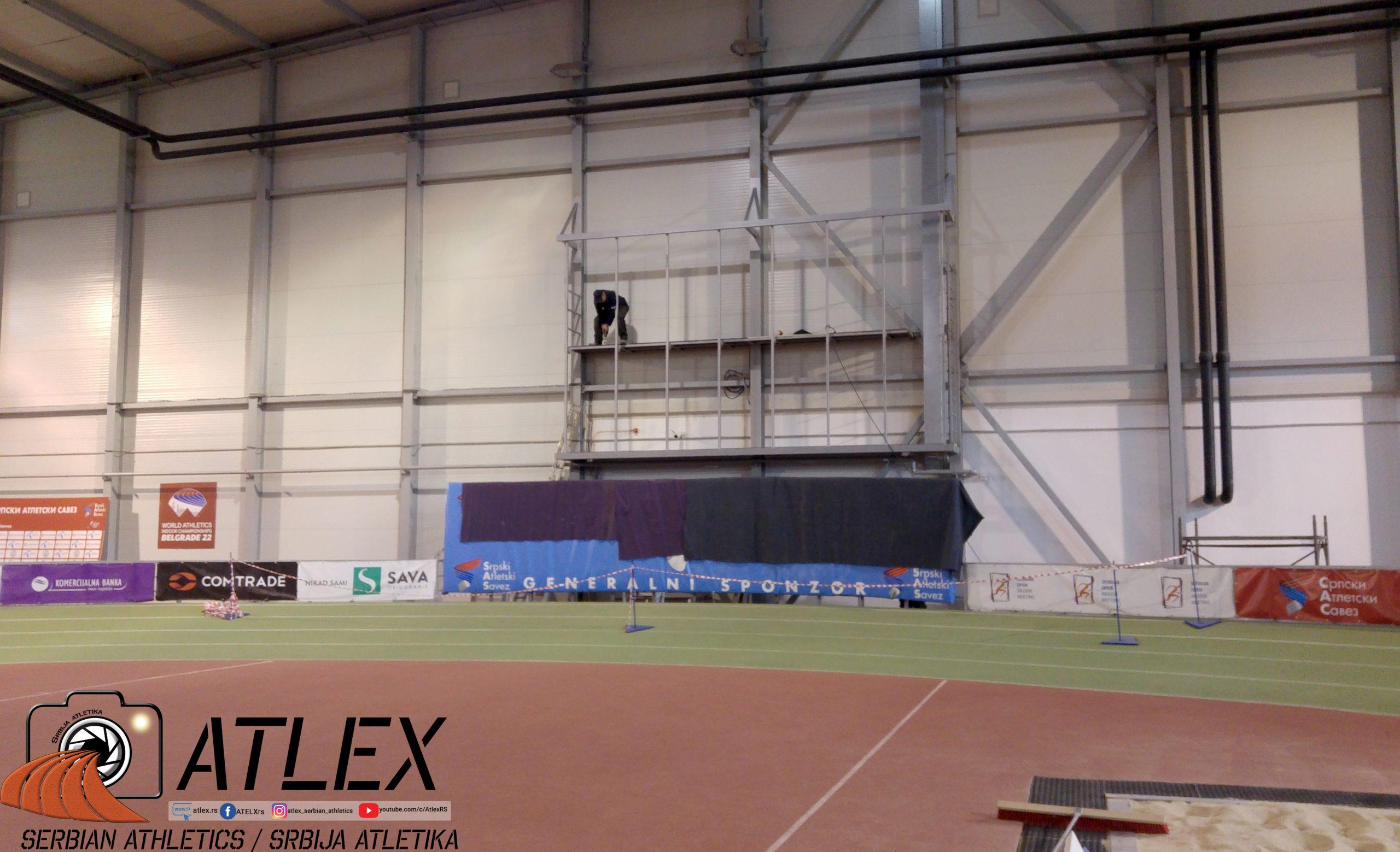 Atletska dvorana, izgradnja platforme za video skrin