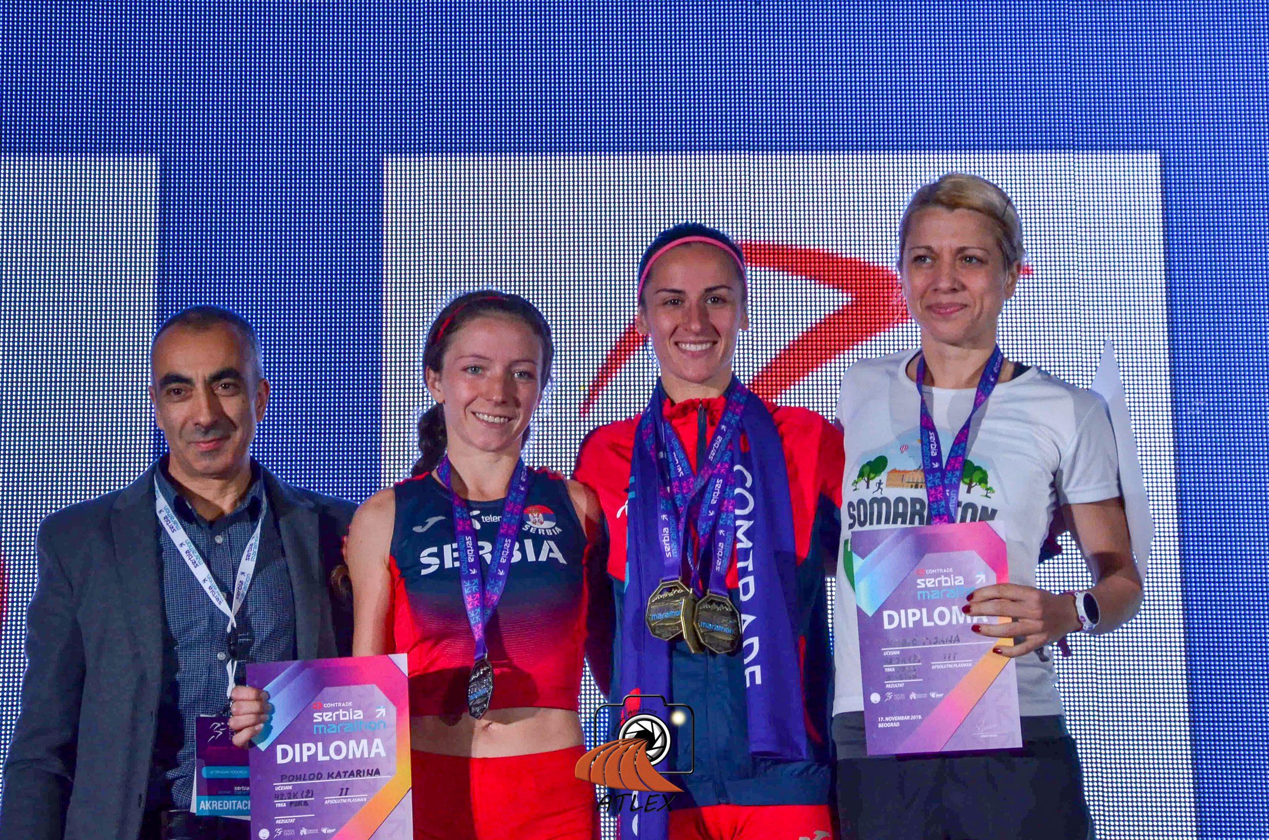 Prvi Comtrade Serbia Marathon, pobednice prvenstva Srbije u maratonu: Katarinom Pohlod, Teodora Simović, Tijana Kabić;