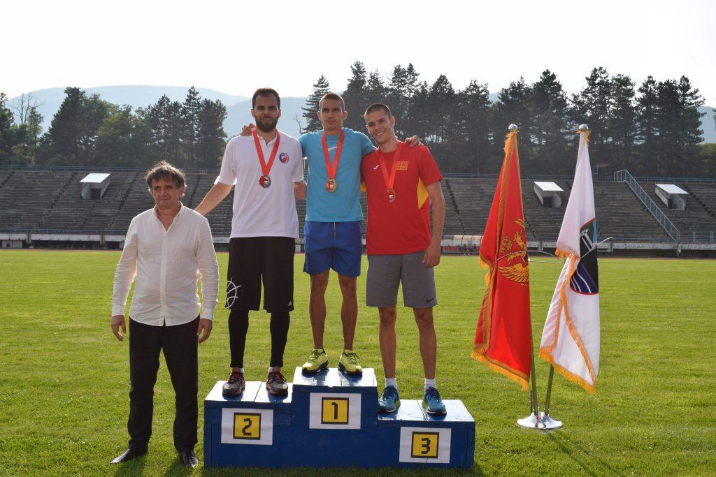 Berane 2019 - 100m muškarci, Filip Ištvanović, Antonio Ivanov, Jovan Stojoski
