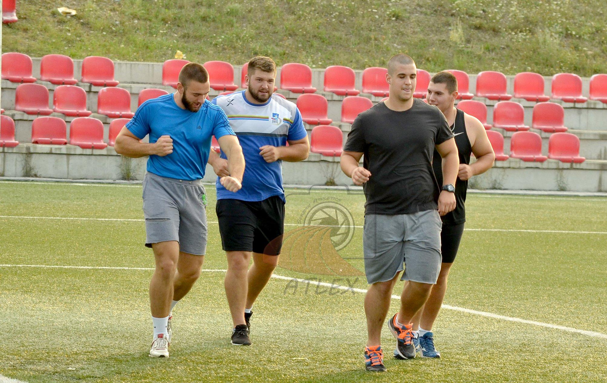 Bacači kugle Bogdan Zdravković, Armin Sinančević, Veljko Nedeljković, i Ivan Garaj - Prvenstvo Srbije 2019