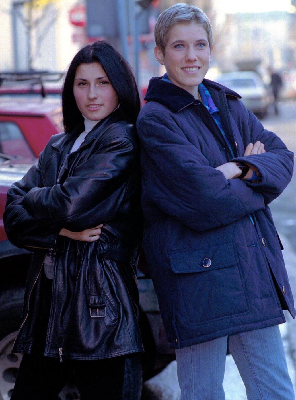 Sonja Stolić i Olivera Jevtić 1999. nakon Evropskog prvenstva u krosu