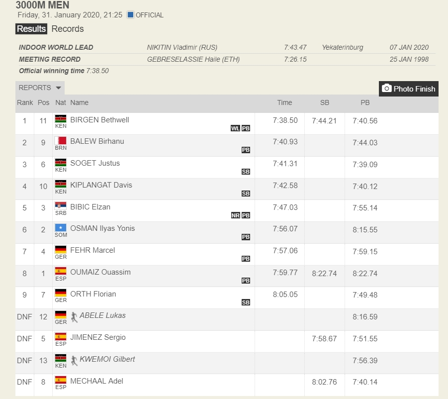 Elzan Bibić, rekord Srbije na 3000 metara u dvorani