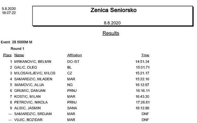 Prvenstvo BiH 2020 - 5000m devojke