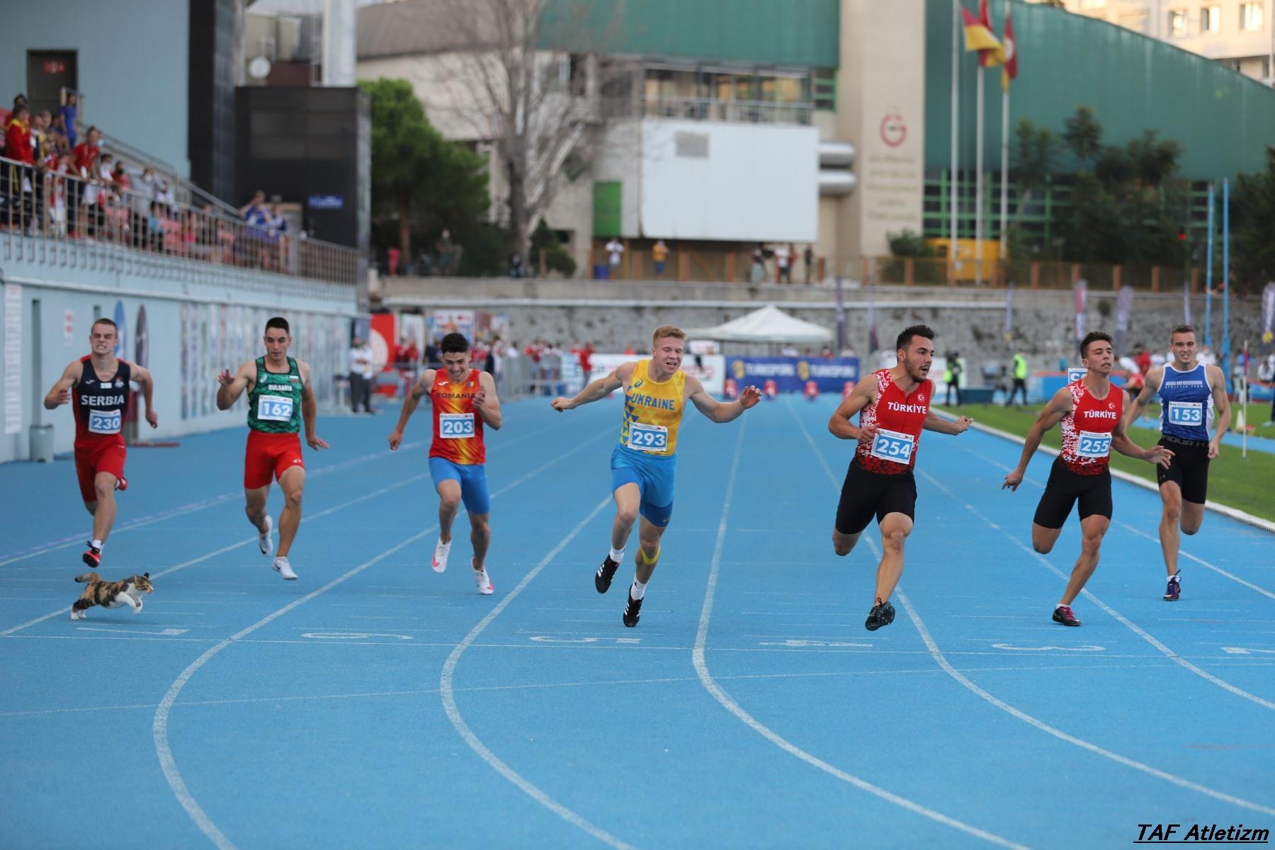 100m muškarci finale, u20 Balkanijada 2020 - mačka na stazi