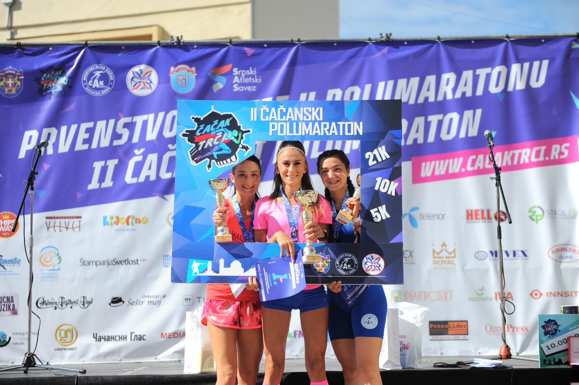 Čačanski polumaraton 2020, pobednice trke na 10km