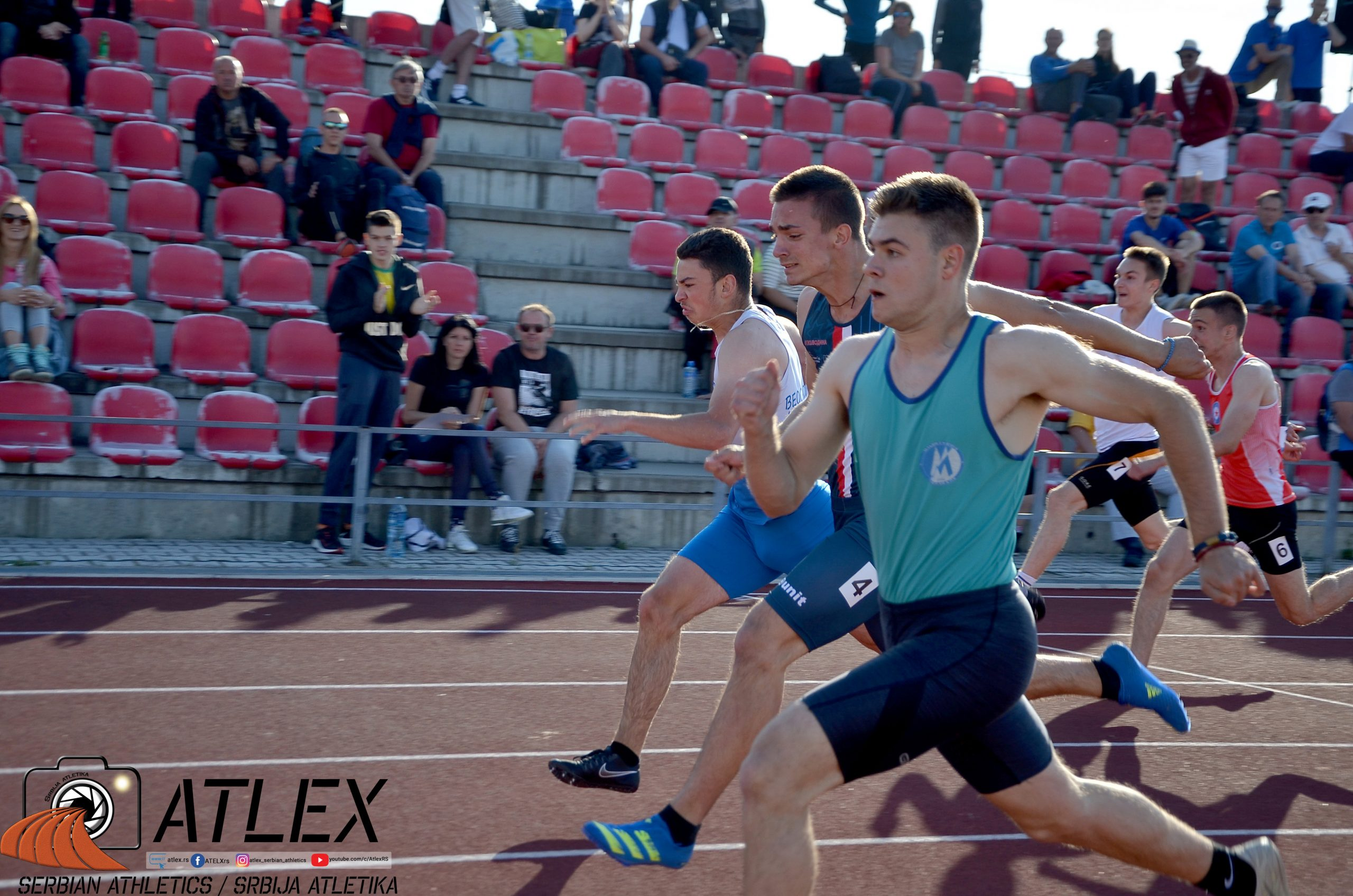Nemanja Dostanić, Strahinja Radaković i Filip Stojanović, 100m finale U20 PS 2021